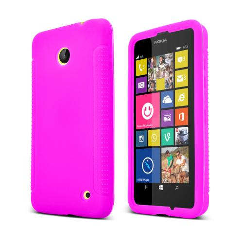 Hot Pink Nokia Lumia 635 Silicone Skin Case Cover, Great Simple Protection!