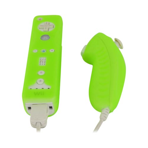 Nintendo Wii Remote and Nunchuck Controller Silicone Case, Rubber Skin - Green