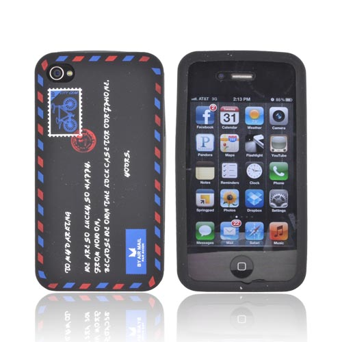 AT&T/ Verizon Apple iPhone 4, iPhone 4S Silicone Case - Black Envelope Letter - XXIP4