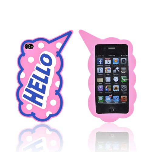"AT&T/ Verizon Apple iPhone 4, iPhone 4S Silicone Case - Blue ""Hello"" on Baby Pink"