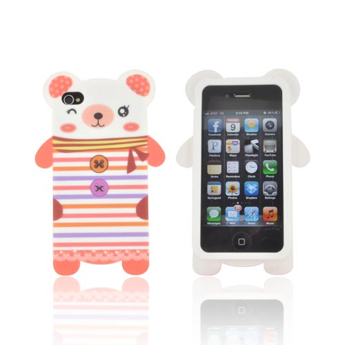 AT&T/ Verizon Apple iPhone 4, iPhone 4S Silicone Case - Peach/ White Bear Wearing Stripes
