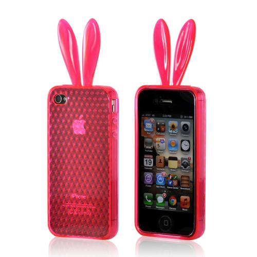 Apple iPhone 4/4S Crystal Silicone Case - Hot Pink Bunny
