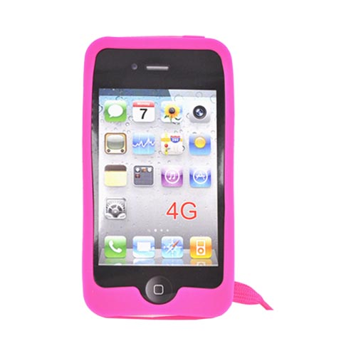 AT&T/ Verizon Apple iPhone 4, iPhone 4S Silicone Case w/ Shoelace - Hot Pink