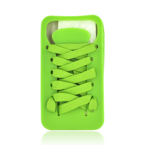 AT&T/ Verizon Apple iPhone 4, iPhone 4S Silicone Case w/ Shoelace - Lime Green