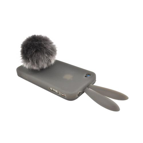 AT&T/Verizon Apple iPhone 4, iPhone 4S Silicone Case w/ Fur Tail Stand - Smoke Bunny