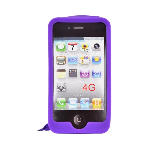 AT&T/ Verizon Apple iPhone 4, iPhone 4S Silicone Case w/ Shoelace - Purple