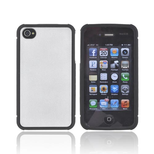 Premium Fusion Series AT&T/ Verizon Apple iPhone 4, iPhone 4S Silicone Case w/ Shock Absorbing Technology - Silver/ Black
