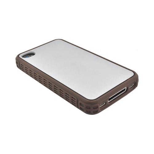 Premium Fusion Series AT&T/ Verizon Apple iPhone 4, iPhone 4S Silicone Case w/ Shock Absorbing Technology - Silver/ Brown