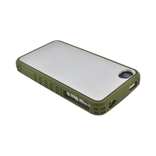 Premium Fusion Series AT&T/ Verizon Apple iPhone 4, iPhone 4S Silicone Case w/ Shock Absorbing Technology - Silver/ Olive Green