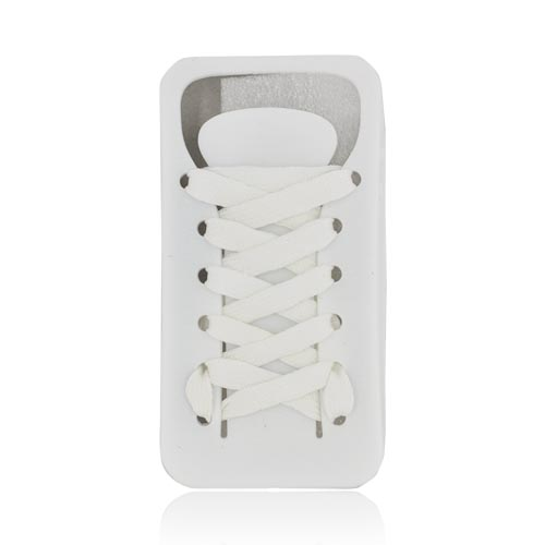AT&T/ Verizon Apple iPhone 4, iPhone 4S Silicone Case w/ Shoelace - Solid White