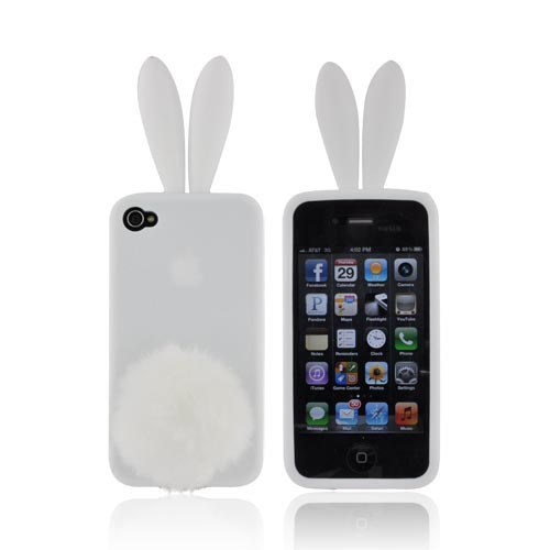 AT&T/Verizon Apple iPhone 4, iPhone 4S Silicone Case w/ Fur Tail Stand - White Bunny