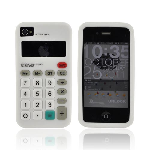 AT&T/ Verizon iPhone 4, iPhone 4S Silicone Case - White Calculator