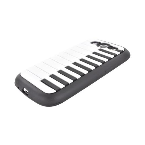 Samsung Galaxy S3 Silicone Case - White/ Black Piano