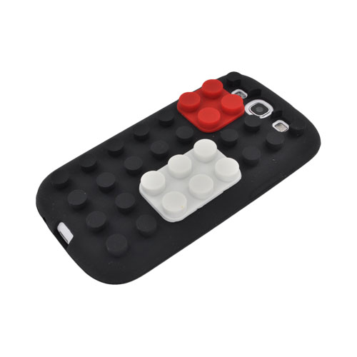 Samsung Galaxy S3 Silicone Case - Black/ Red/ White Blocks