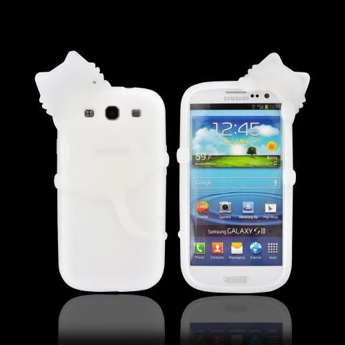 Samsung Galaxy S3 Silicone Case w/ 3D Animal - Frost White Peeking Cat