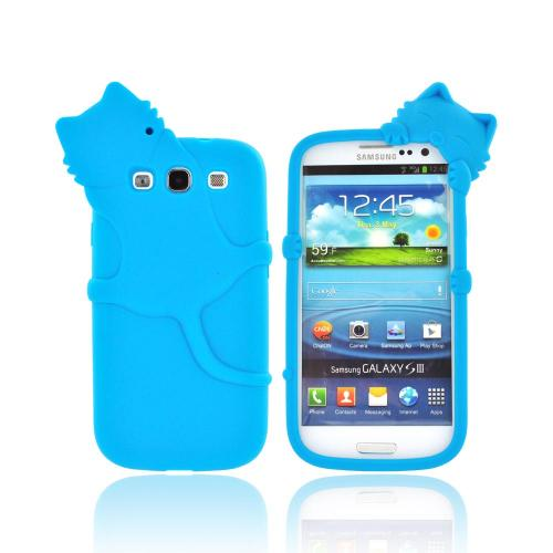 Samsung Galaxy S3 Silicone Case w/ 3D Animal - Teal Peeking Cat