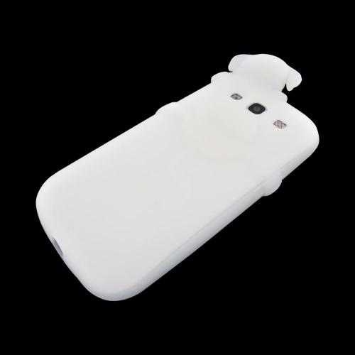 Samsung Galaxy S3 Silicone Case w/ 3D Animal - Frost White Peeking Dog