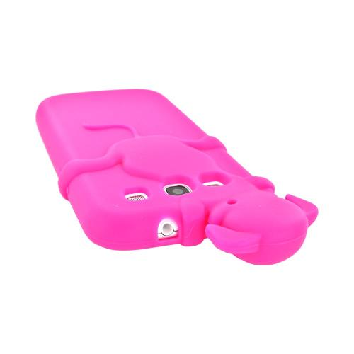 Samsung Galaxy S3 Silicone Case w/ 3D Animal - Hot Pink Peeking Dog