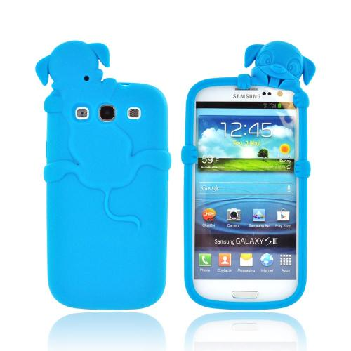 Samsung Galaxy S3 Silicone Case w/ 3D Animal - Teal Peeking Dog