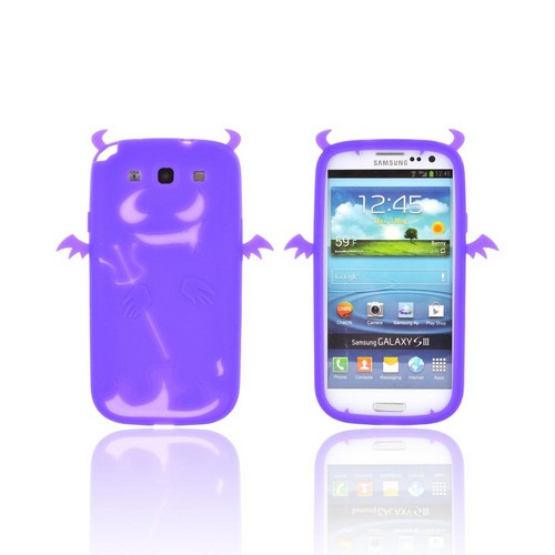Samsung Galaxy S3 Silicone Case - Purple Devil w/ Horns