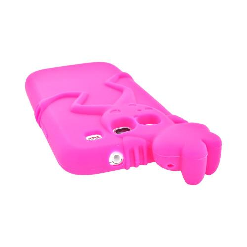 Samsung Galaxy S3 Silicone Case w/ 3D Animal - Hot Pink Peeking Frog