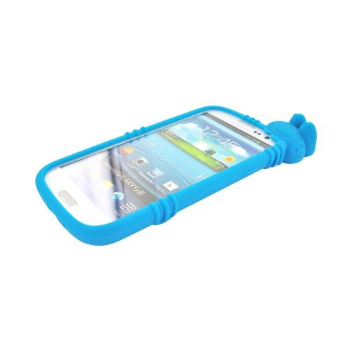 Samsung Galaxy S3 Silicone Case w/ 3D Animal - Teal Peeking Frog
