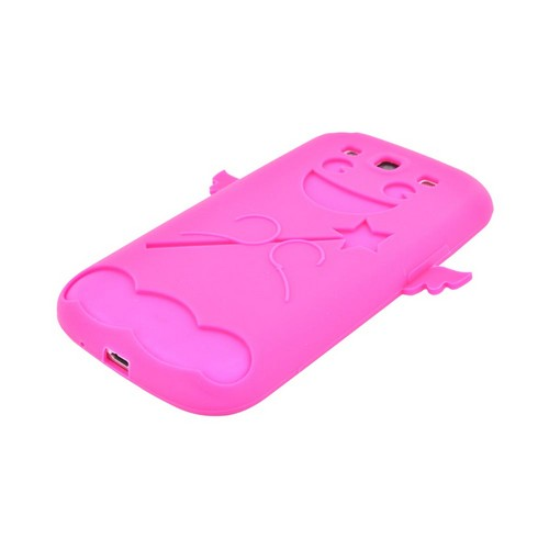 Samsung Galaxy S3 Silicone Case - Hot Pink Angel w/ Wings