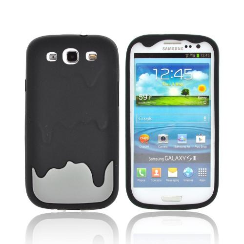 Samsung Galaxy S3 Silicone Case - Black/ Gray Melt Design