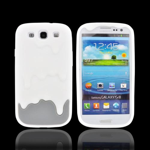 Samsung Galaxy S3 Silicone Case - White/ Gray Melt Design