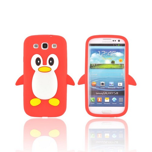 Samsung Galaxy S3 Silicone Case - Red Penguin