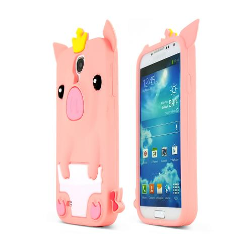 Hot Pink Pig Silicone Case for Samsung Galaxy S4