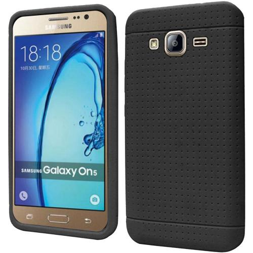 Samsung Galaxy On5 Case, Soft & Flexible Reinforced Silicone Skin Case Cover [Black]