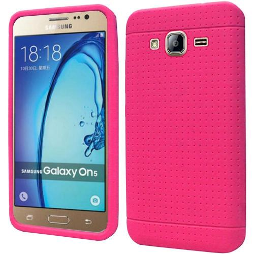 Samsung Galaxy On5 Case, Soft & Flexible Reinforced Silicone Skin Case Cover [Hot Pink]