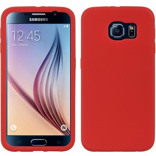 Galaxy S6 Case, [Red] Soft & Flexible Reinforced Silicone Skin Cover for Samsung Galaxy S6