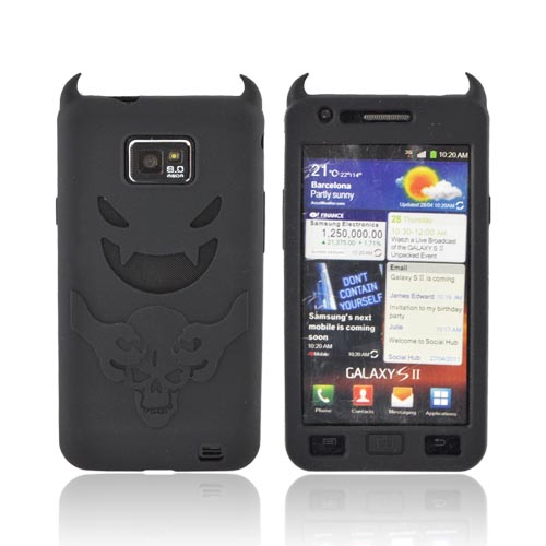 AT&T Samsung Galaxy S2 Silicone Case - Black Devil w/ a Skull & Horns