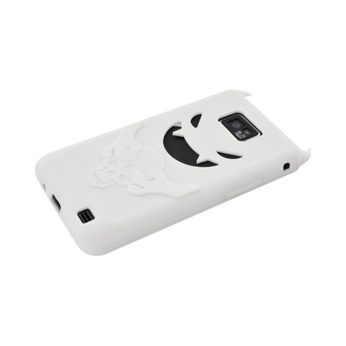 AT&T Samsung Galaxy S2 Silicone Case - Solid White Devil w/ a Skull & Horns