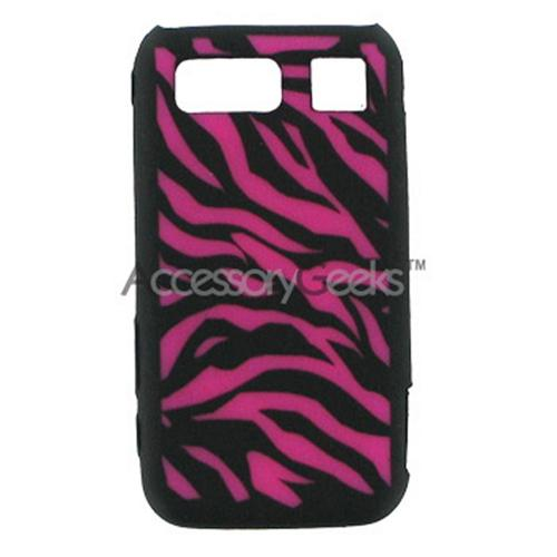 Samsung Omnia Silicone Case, Rubber Skin - Hot Pink Zebra on Black