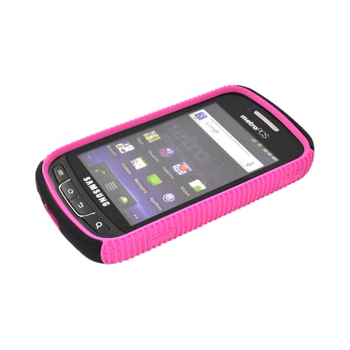 Samsung Rookie R720 Hard Back Over Crystal Silicone - Hot Pink/ Black