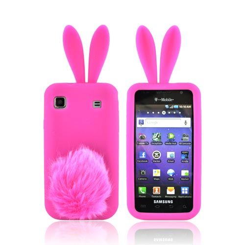 Samsung Vibrant T959/ Galaxy S 4G Silicone Case w/ Fur Tail Stand - Hot Pink Bunny