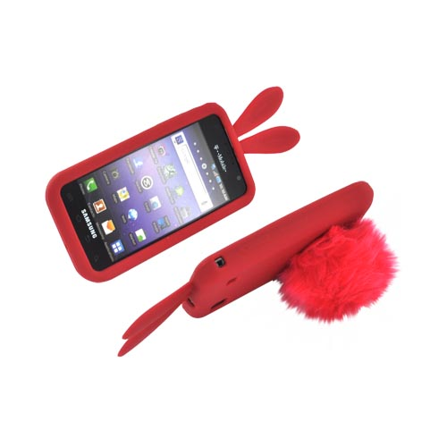 Samsung Galaxy S 4G / Vibrant Silicone Case w/ Fur Tail Stand - Red Bunny
