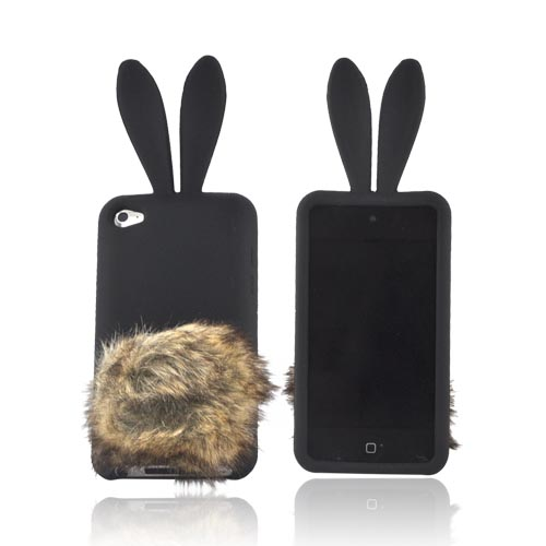 Apple iPod Touch 4 Silicone Case w/ Fur Tail Stand - Black Bunny w/ Brown Tail