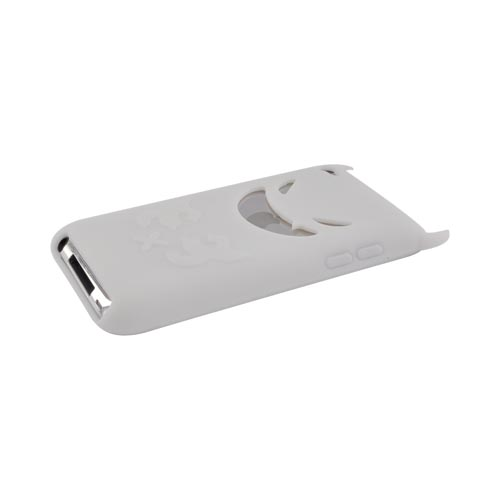 Apple iPod Touch 4 Silicone Case - White Devil w/ Horns
