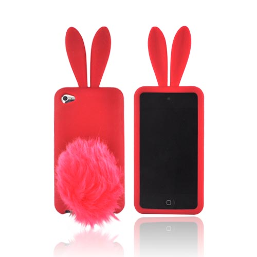 Apple iPod Touch 4 Silicone Case w/ Fur Tail Stand - Red Bunny