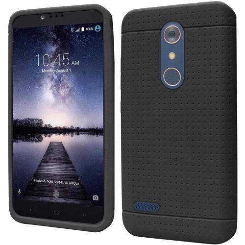 ZTE Z Max Pro Case, Soft & Flexible Reinforced Silicone Skin Case Cover [Black]