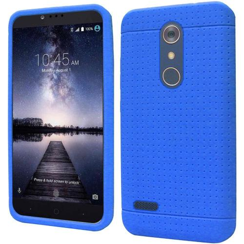 ZTE Z Max Pro Case, Soft & Flexible Reinforced Silicone Skin Case Cover [Blue]