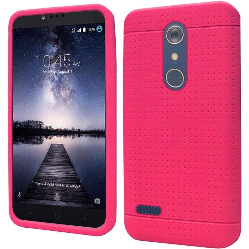 ZTE Z Max Pro Case, Soft & Flexible Reinforced Silicone Skin Case Cover [Hot Pink]