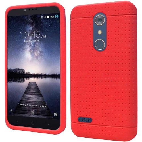 ZTE Z Max Pro Case, Soft & Flexible Reinforced Silicone Skin Case Cover [Red]