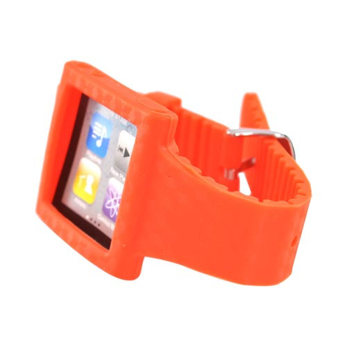 Premium Apple iPod Nano 6 Silicone Wrist Band Case - Orange Design