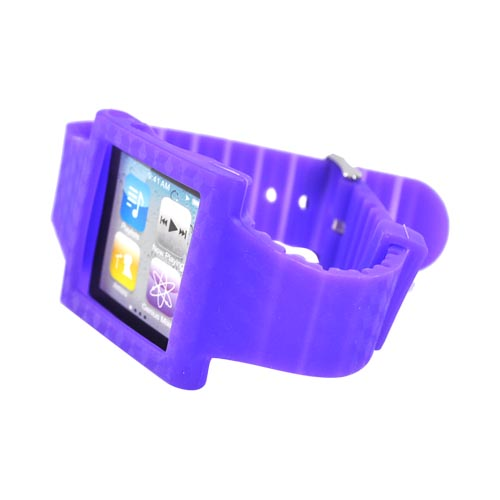 Premium Apple iPod Nano 6 Silicone Wrist Band Case - Purple Design