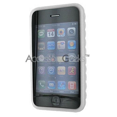 Apple iPhone 3G Rubber Silicone Skin Case w/ Diamond Shape Back - Frost White